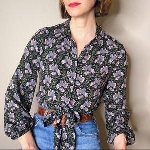 PAIGE floral tie front cropped Damaris blouse XS